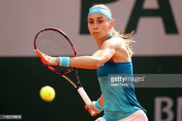 Aleksandra Krunic of Serbia during her ladies singles first round match against Daria Gavrilova of Australia during Day three of the 2019 French Open...
