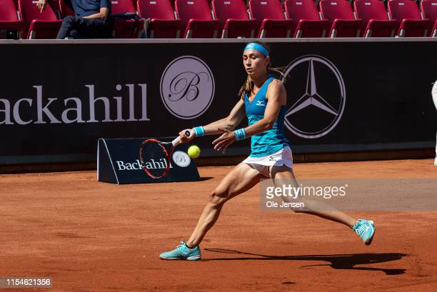 Aleksandra Krunic of Serbia during her match with Caijsa Hennemann of Sweden on day one of the 2019 Swedish Open WTA on July 08, 2019 in Bastad,...