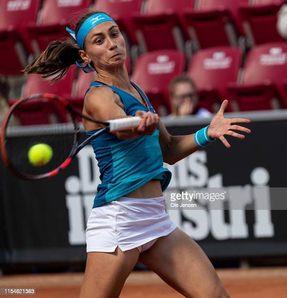 Aleksandra Krunic of Serbia during her match with Caijsa Hennemann of Sweden on day one of the 2019 Swedish Open WTA on July 08 2019 in Bastad Sweden