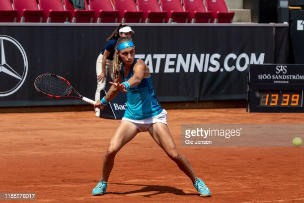 Aleksandra Krunic of Serbia during her match with Misaki Doi of Japan in the semi final during day five of the 2019 Swedish Open WTA on July 12 2019...