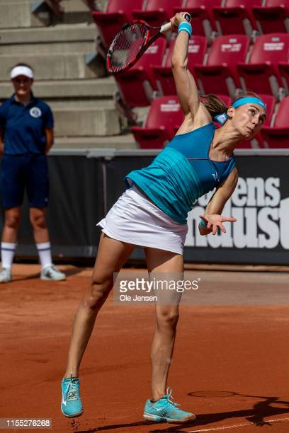 Aleksandra Krunic of Serbia during her match with Misaki Doi of Japan in the semi final during day five of the 2019 Swedish Open WTA on July 12, 2019...