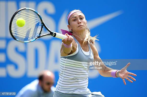 Aleksandra Krunic of Serbia in action against Heather Watson of Great Britain on day two of the Aegon Classic at Edgbaston Priory Club on June 16...