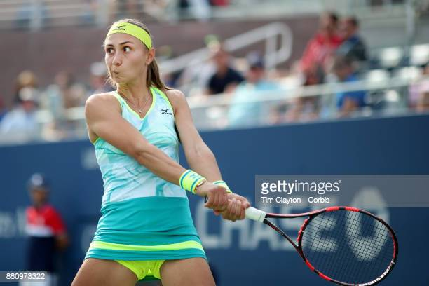 S Open August 28 DAY ONE Aleksandra Krunic of Serbia in action against Johanna Konta of Great Britain during the Women's Singles round one match at...