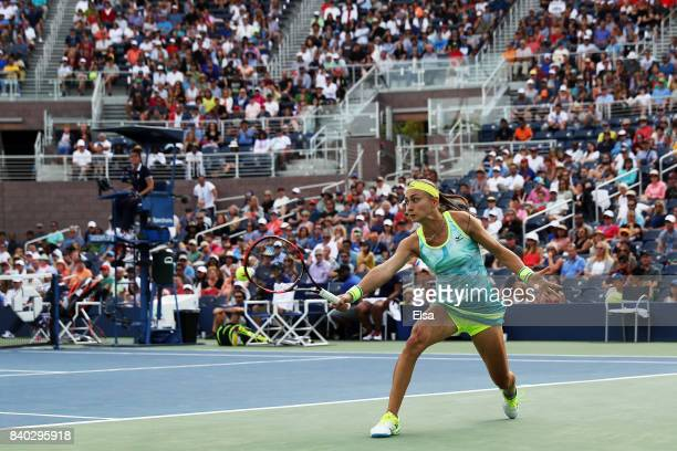 Aleksandra Krunic of Serbia Montenegro returns a shot during her first round Women's Singles match against Johanna Konta of Great Britain on Day One...