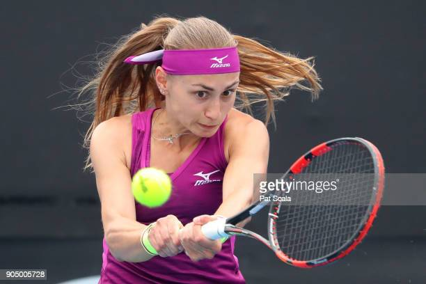 Aleksandra Krunic of Serbia plays a backhand in her first round match against Anett Kontaveit of Estonia on day one of the 2018 Australian Open at...
