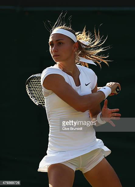 Aleksandra Krunic of Serbia plays a backhand in her Ladies' Singles Third Round match against Venus Williams of the United States during day five of...
