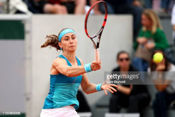 Aleksandra Krunic of Serbia plays a forehand during her ladies singles second round match against Lesia Tsurenko of Ukraine during Day five of the...