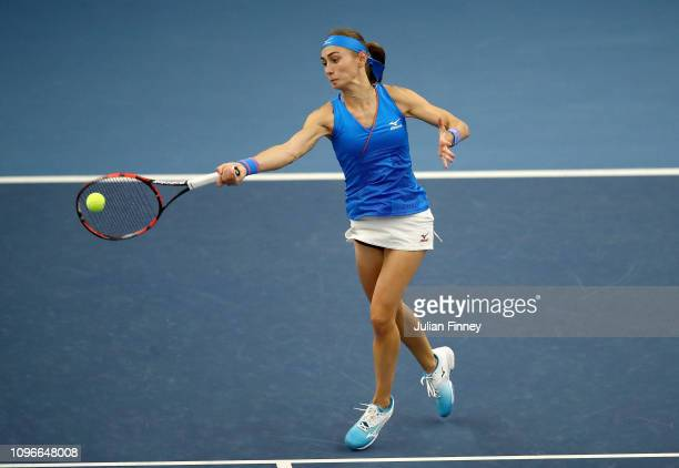 Aleksandra Krunic of Serbia plays a forehand during her promtional playoff match against Johanna Konta of Great Britain on day four of the Fed Cup...