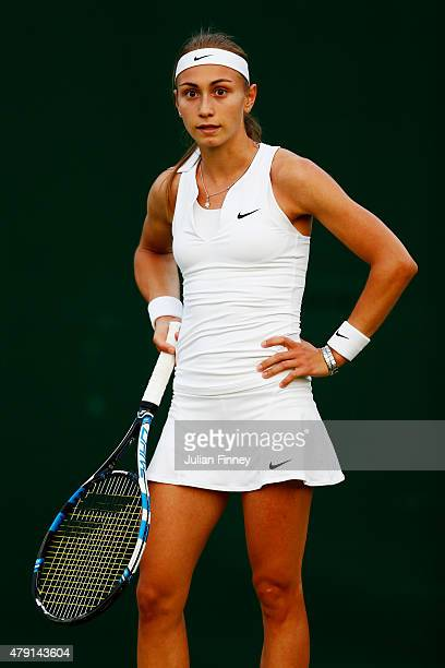Aleksandra Krunic of Serbia reacts in her Ladies Singles Second Round match against Sara Errani of Italy during day three of the Wimbledon Lawn...
