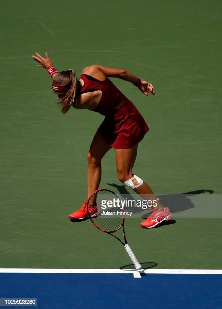 Aleksandra Krunic of Serbia shows her frustration during her women's singles third round match against Madison Keys of the United States on Day Six...