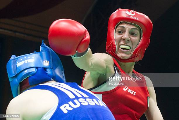 Aleksandra Kuleshova of Russia clashes with Terri Gordini of Italy during their bantamweight 54kg final final bout at the Women's World Boxing...