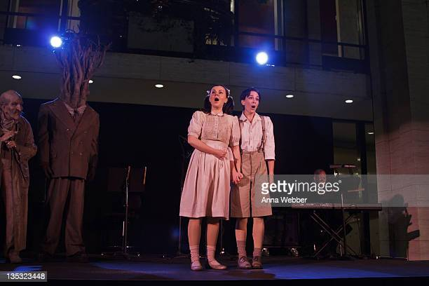 Aleksandra Kurzak and Kate Lindsey play Hansel and Gretel during the 2011 Metropolitan Opera Tree Lighting ceremony at The Metropolitan Opera House...