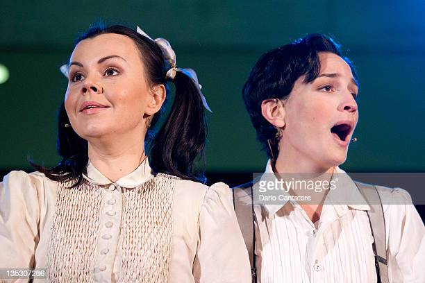 Aleksandra Kurzak and Kate Lindsey play the roles of Hansel and Gretel during the 2011 Metropolitan Opera Tree Lighting ceremony at The Metropolitan...