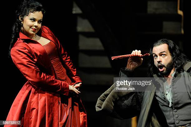 Aleksandra Kurzak and Marco Vinco perform in the Royal Opera's production of Gioachino Rossini's opera Matilde Di Shabran directed by Mario Martone...