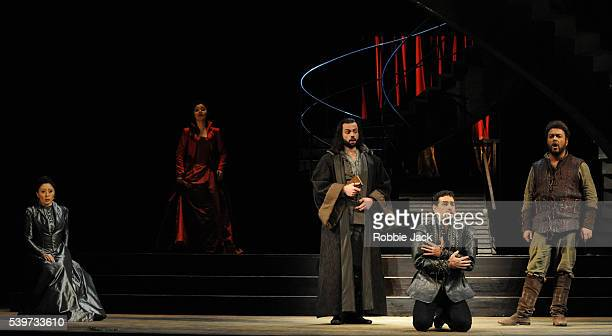 Aleksandra Kurzak Juan Diego Florez Marco Vinco Enkelejda Shkosa and Carlo Lepore perform in the Royal Opera's production of Gioachino Rossini's...