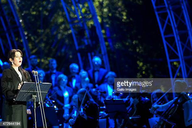 Aleksandra Kurzak performs during the 70th anniversary celebration of the end of the Second World War on May 8 2015 at Westerplatte in Gdansk Poland...