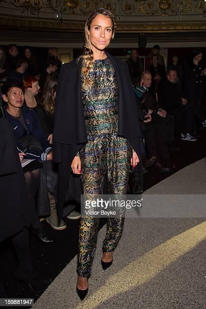 Aleksandra Melnichenko attends the Ulyana Sergeenko Spring/Summer 2013 HauteCouture show as part of Paris Fashion Week at Theatre Marigny on January...