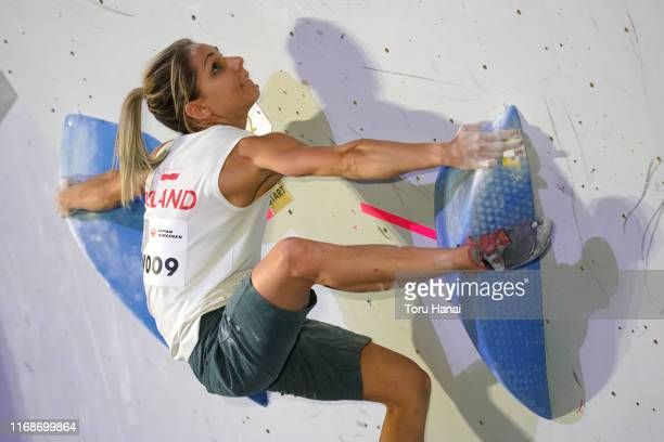 Aleksandra Miroslaw of Poland competes in the Bouldering during Combined Women's Qualification on day eight of the IFSC Climbing World Championships...