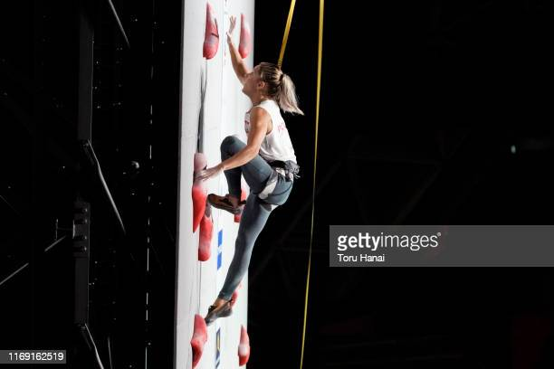 Aleksandra Miroslaw of Poland competes in the Speed during Combined Women's Final on day ten of the IFSC Climbing World Championships at the Esforta...