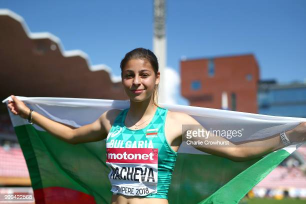 Aleksandra Nacheva of Bulgaria celebrates winning gold in the final of the women's triple jump on day six of The IAAF World U20 Championships on July...