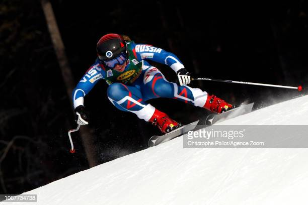 Aleksandra Prokopyeva of Russia in action during the Audi FIS Alpine Ski World Cup Women's Super G on December 2 2018 in Lake Louise Canada