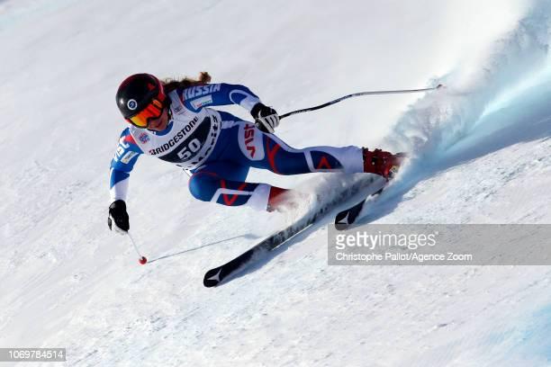 Aleksandra Prokopyeva of Russia in action during the Audi FIS Alpine Ski World Cup Women's Super G on December 8 2018 in St Moritz Switzerland