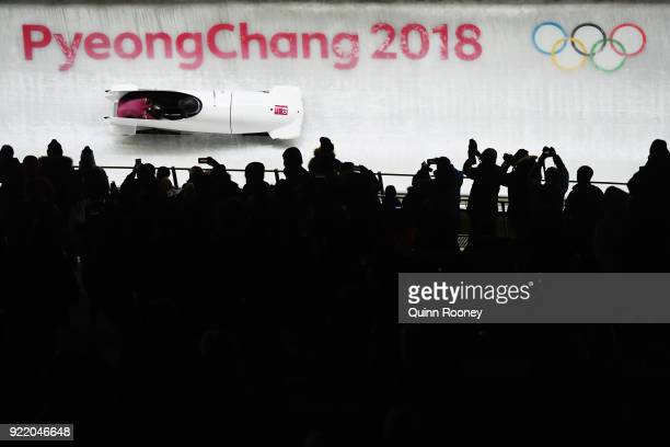 Aleksandra Rodionova and Yulia Belomestnykh of Olympic Athlete from Russia slide during the Women's Bobsleigh heats on day twelve of the PyeongChang...