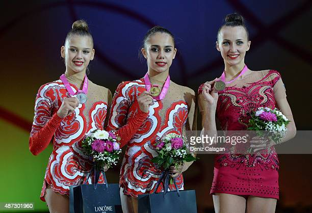 Aleksandra Soldatova Margarita Mamun of Russia and Ganna Rizatdinova of Ukraine during the medal ceremony during the 34th Rhythmic Gymnastics World...