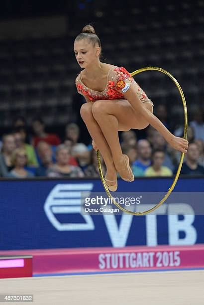 Aleksandra Soldatova of Russia competes during the 34th Rhythmic Gymnastics World Championships on September 8 2015 in Stuttgart Germany