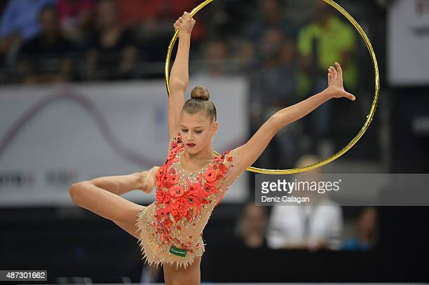 Aleksandra Soldatova of Russia competes during the 34th Rhythmic Gymnastics World Championships on September 8 2015 in Stuttgart Germany