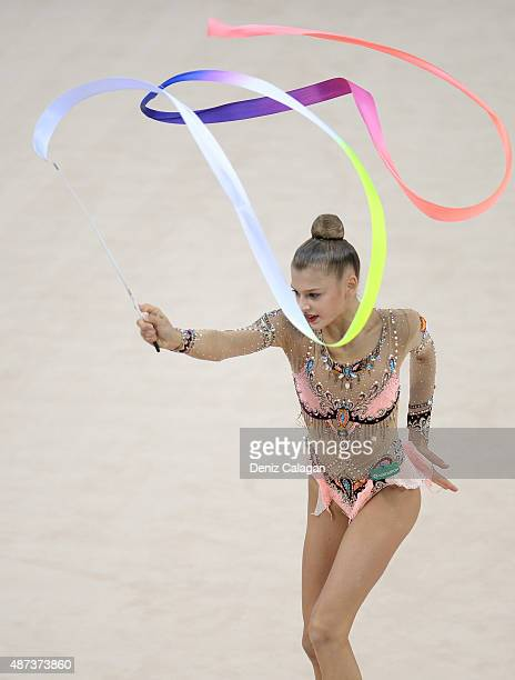 Aleksandra Soldatova of Russia competes during the 34th Rhythmic Gymnastics World Championships on September 9 2015 in Stuttgart Germany
