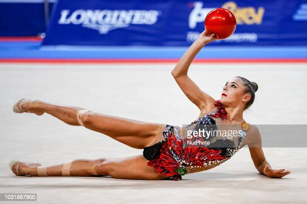 Aleksandra Soldatova of  Russia during Individual Ball Final at the Arena Armeec in Sofia at the 36th FIG Rhythmic Gymnastics World Championships on...