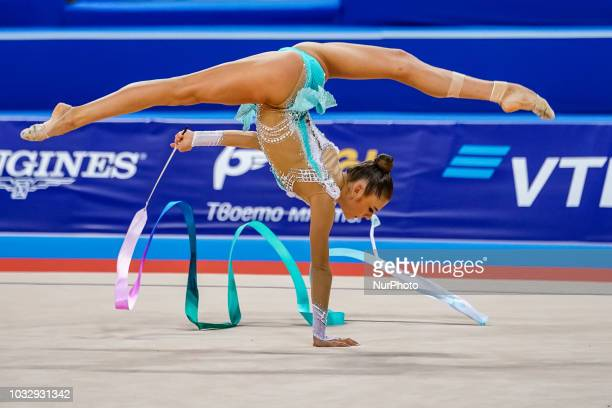 Aleksandra Soldatova of  Russia during Individual Ribbon Final at the Arena Armeec in Sofia at the 36th FIG Rhythmic Gymnastics World Championships...
