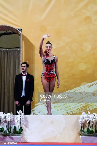Aleksandra Soldatova of Russia getting silver medal at Individual Ball Final at the Arena Armeec in Sofia at the 36th FIG Rhythmic Gymnastics World...