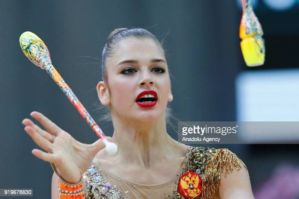 Aleksandra Soldatova of Russia performs during event 2018 Moscow Rhythmic Gymnastics Grand Prix GAZPROM Cup at the in Moscow on February 17, 2018.