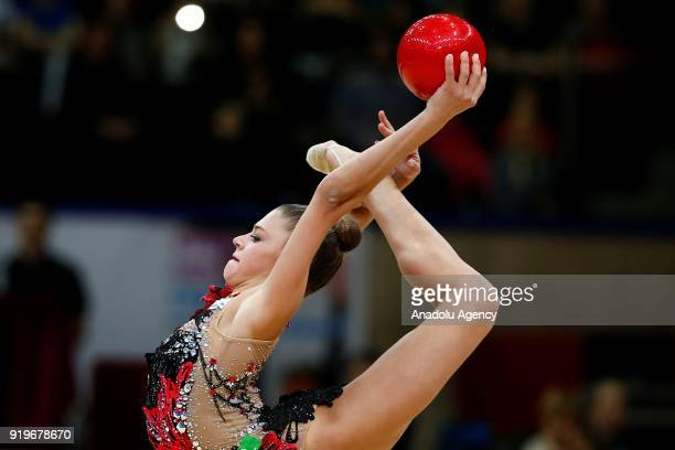 Aleksandra Soldatova of Russia performs during event 2018 Moscow Rhythmic Gymnastics Grand Prix GAZPROM Cup at the in Moscow on February 17 2018