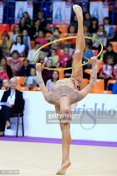 Aleksandra Soldatova of Russia performs during the International Rhythmic Gymnastics Championship at the Alina Cup Grand Prix 2016 event in Moscow...