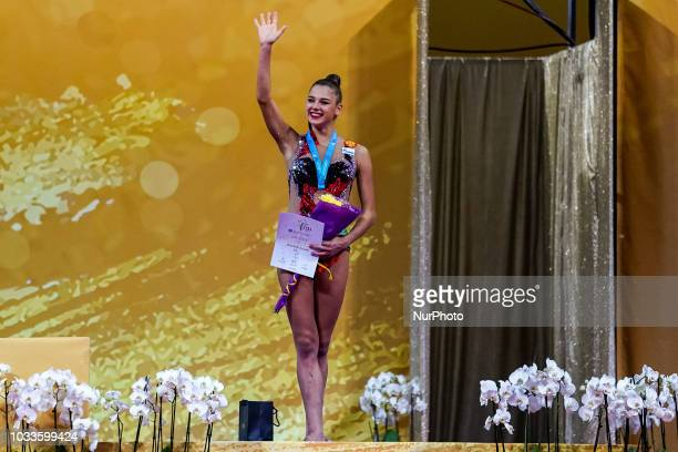Aleksandra Soldatova of Russia winning bronze medal at Individual AllAround Final at the Arena Armeec in Sofia at the 36th FIG Rhythmic Gymnastics...