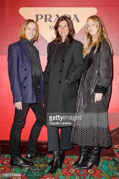 Aleksandra Woroniecka, Emmanuelle Alt and Jennifer Next attend Prada Mode Paris Day 2 on January 20, 2020 in Paris, France.