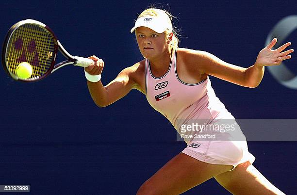 Aleksandra Wozniak of Canada plays and is defeated by Shinobu Asagoe of Japan by a score of 6-2, 6-2 in the first round at the Sony Ericsson WTA Tour...