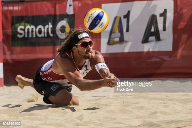 Aleksandrs Samoilovs of Latvia in action during Day 8 of the FIVB Beach Volleyball World Championships 2017 on August 4 2017 in Vienna Austria