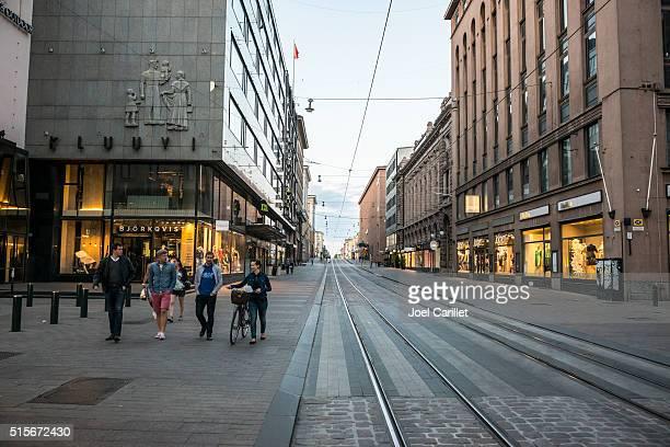 Aleksanterinkatu street in Helsinki, Finland
