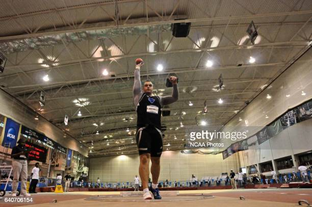 Aleksas Abromavicius of Grand Valley competes in the men's shot put during the Division II Winter Sports Festival Men's and Women's Indoor Track and...