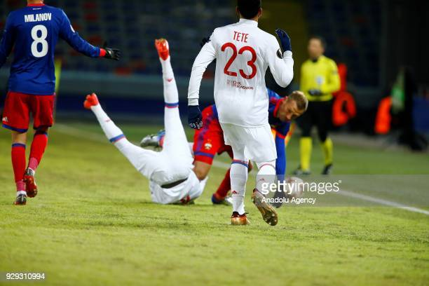 Aleksei Berezutski of CSKA Moscow in action during the UEFA Europa League round of 16 first leg soccer match between CSKA Moscow and Olympique...