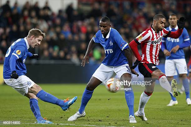 Aleksei Kozlov of Dinamo Moscow Douglas of Dinamo Moscow Jurgen Locadia of PSV during the UEFA Europa League group match between PSV Eindhoven and...