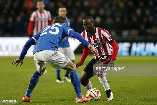 Aleksei Kozlov of Dinamo Moscow Jetro Willems of PSV during the UEFA Europa League group match between PSV Eindhoven and Dinamo Moscow on December 11...