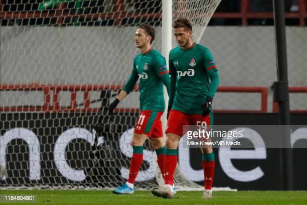 Aleksei Miranchuk and Anton Miranchuk of Lokomotiv Moskva react during the UEFA Champions League group D match between Lokomotiv Moskva and Bayer...