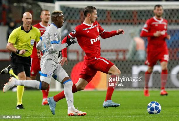 Aleksei Miranchuk of FC Lokomotiv Moscow and Hamza Mendyl of FC Schalke 04 vie for the ball during the Group D match of the UEFA Champions League...