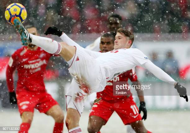 Aleksei Miranchuk of FC Lokomotiv Moscow in action during the Russian Premier League match between FC Lokomotiv Moscow and FC Spartak Moscow at...