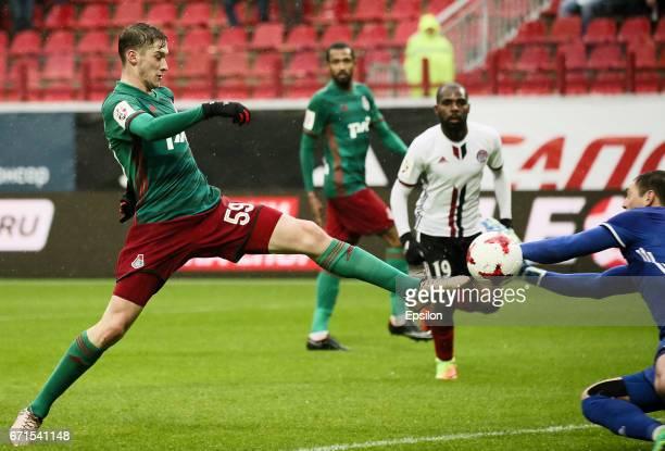 Aleksei Miranchuk of FC Lokomotiv Moscow shoots at goal during the Russian Premier League match between FC Lokomotiv Moscow and FC Amkar Perm at...
